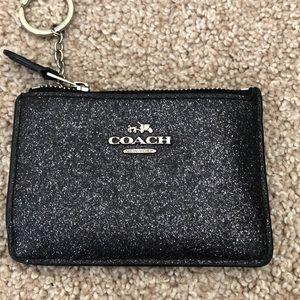Coach sparkly black coin pouch/wallet